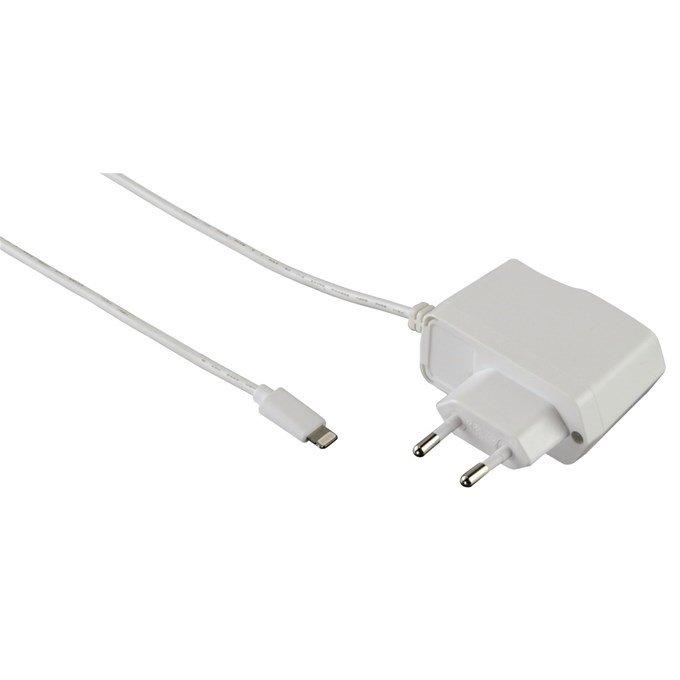 Nabíječka Hama s Lightning bílý Nabíječka, pro Apple iPod a iPhone, MFI certifikace, 100 V-240 V, 1000 mA, bílý