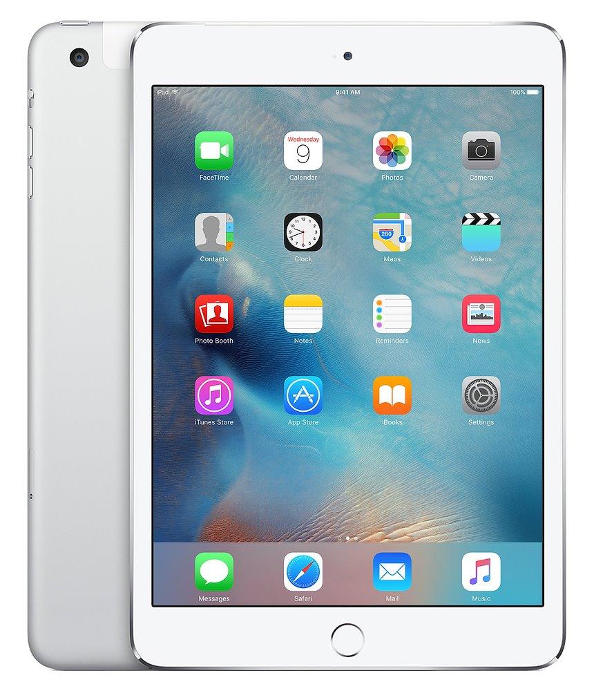 Tablet Apple iPad mini 4 WiFi Cell stříbrný Tablet, Wi-Fi, Cellular, 128 GB, stříbrná MK772FD/A