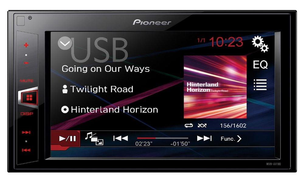 Autorádio PIONEER MVH-AV180 Autorádio, FM tuner, 6,2 WVGA dotykový display, pracuje s iPhone a Android, podpora pro iPod, USB MVH-AV180