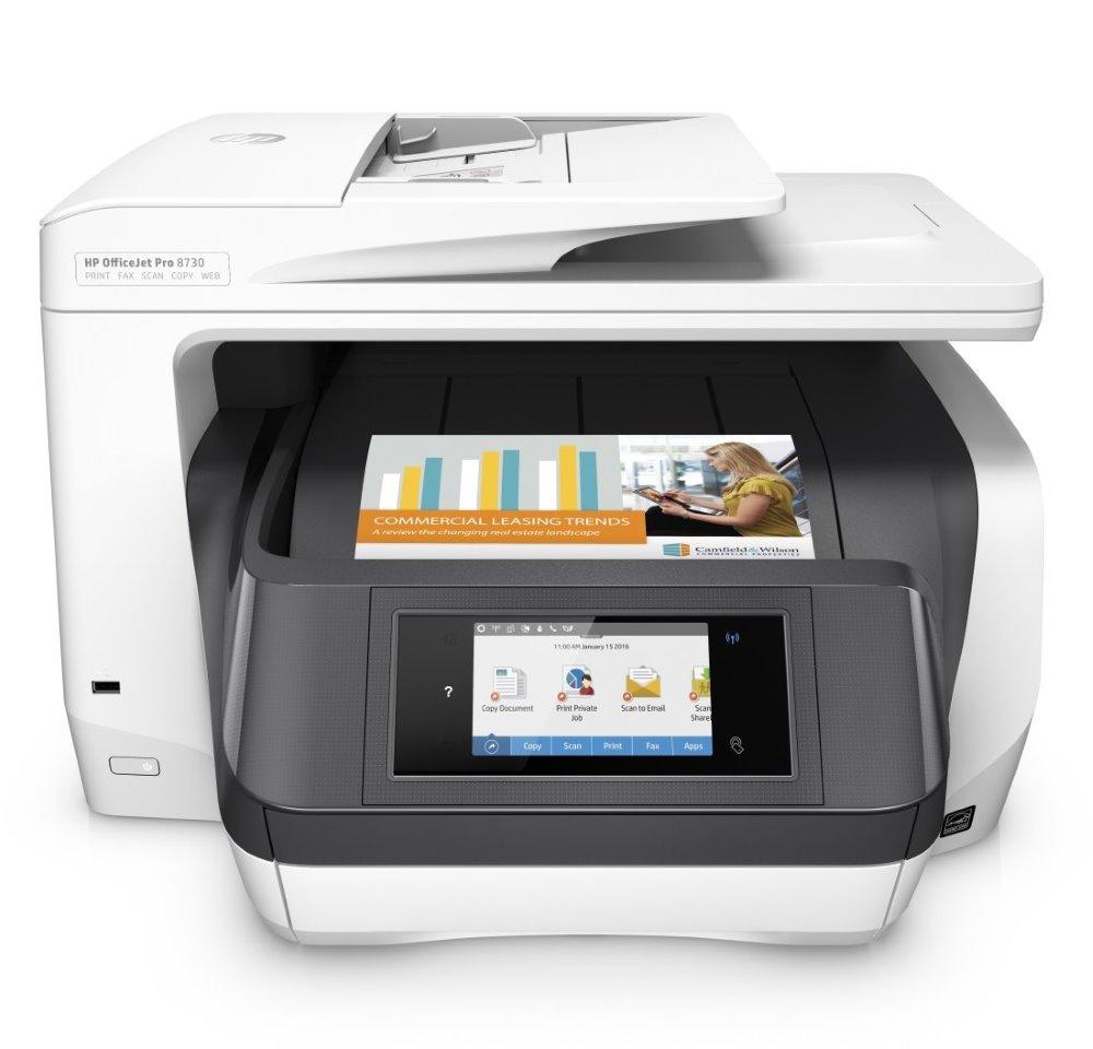 Multifunkční tiskárna HP OfficeJet Pro 8730 Barevná multifunkční inkoustová tiskárna, A4, 24/20 ppm, print+scan+copy+fax, 1200x1200, LCD, USB, LAN, Wifi, ADF, Duplex, černobílá D9L20A