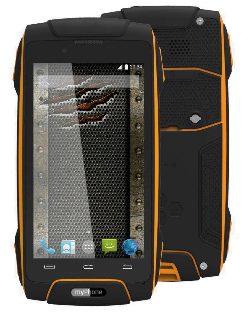 Mobilní telefon myPhone HAMMER AXE Mobilní telefon, 4,5 IPS, Dual SIM, 8 GB, 1 GB RAM, IP68, Android 4.4, oranžový TELMYAHAXE3GOR