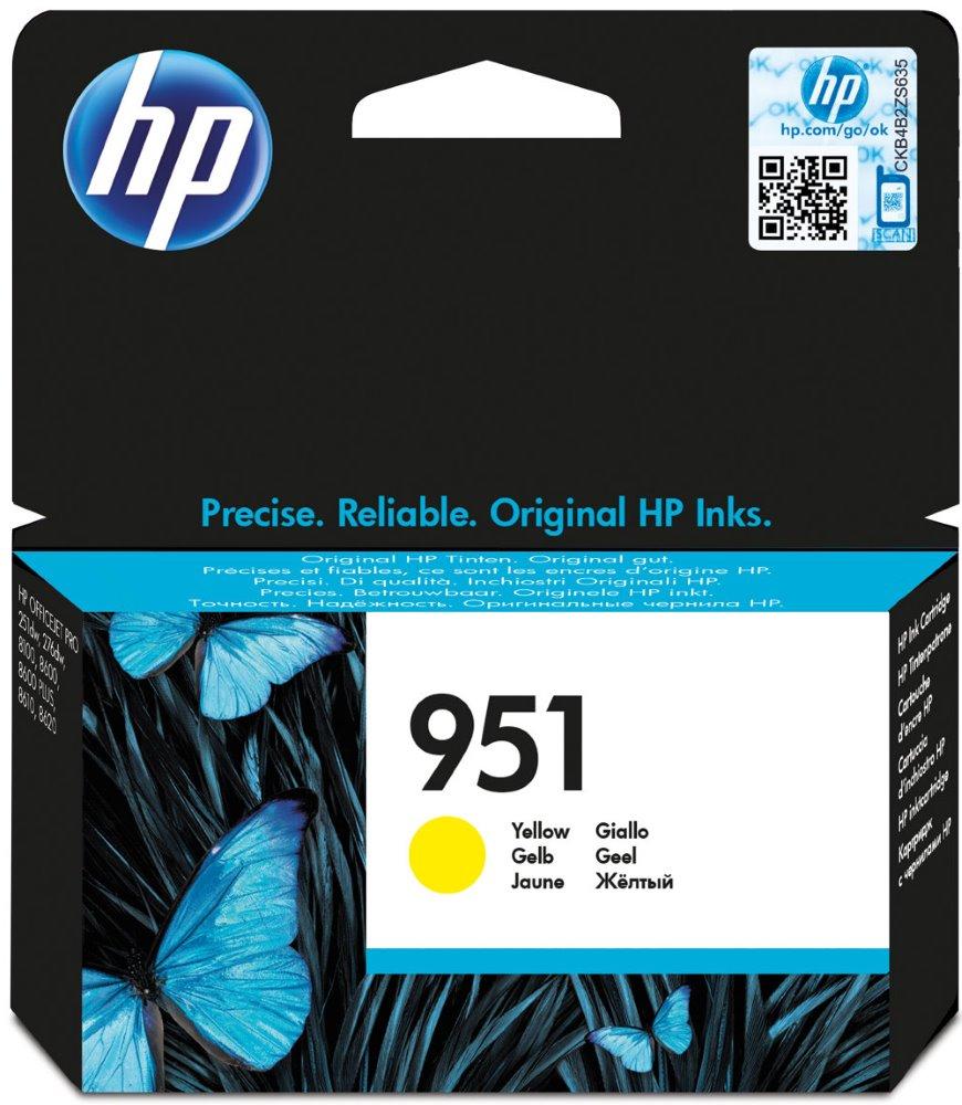 Inkoustová náplň HP 951 CN052AE žlutá Inkoustová náplň, originální, pro tiskárny HP Officejet Pro 276dw, 251dw, 8100, 8600, 8600, 8610, 8620, 700 stran, žlutá CN052AE