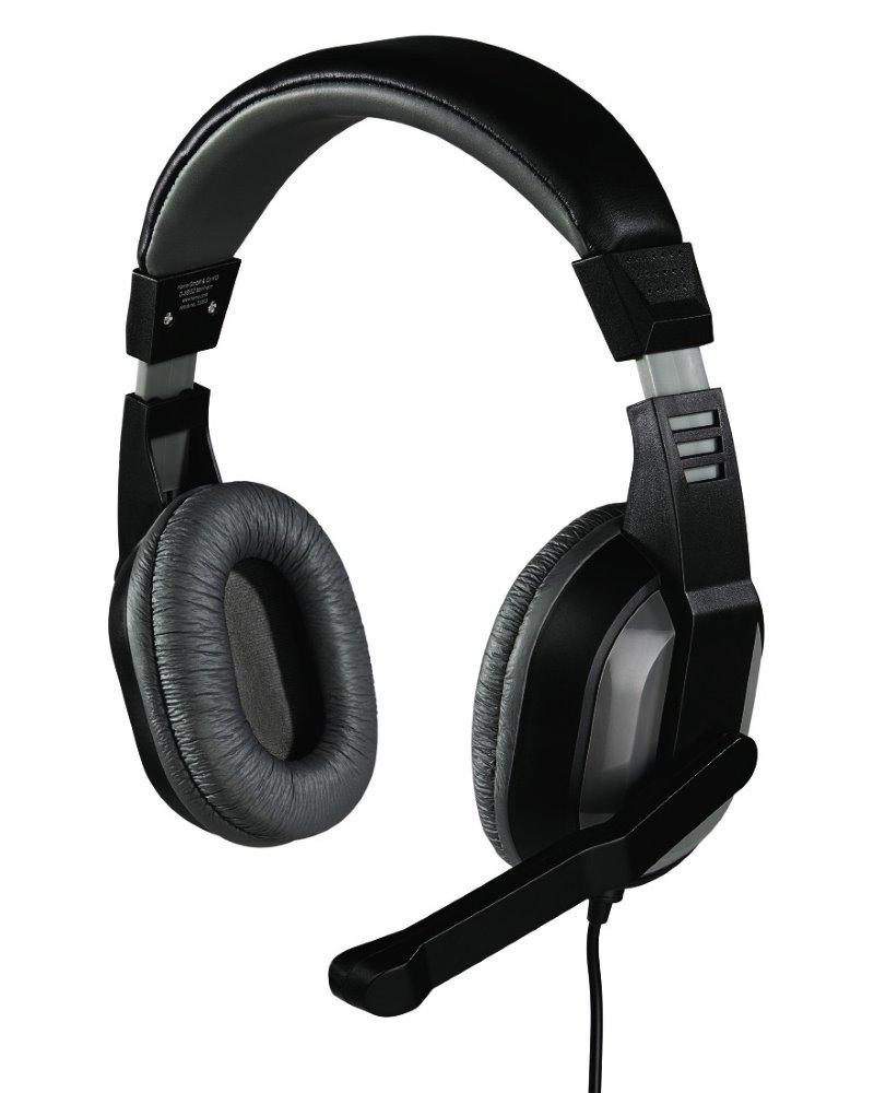 Headset HAMA Offbeat Headset, drátový, sluchátka + mikrofon, 2x 3,5 mm jack, citlivost 105 dB/mW, šedý 53983