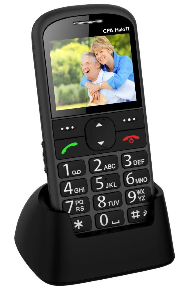 Mobilní telefon pro seniory CPA HALO 11 šedý Mobilní telefon, pro seniory, 2.4 barevný display, SOS tlačítko, vestavěná svítilna, FM rádio, šedý TELMY1011GR