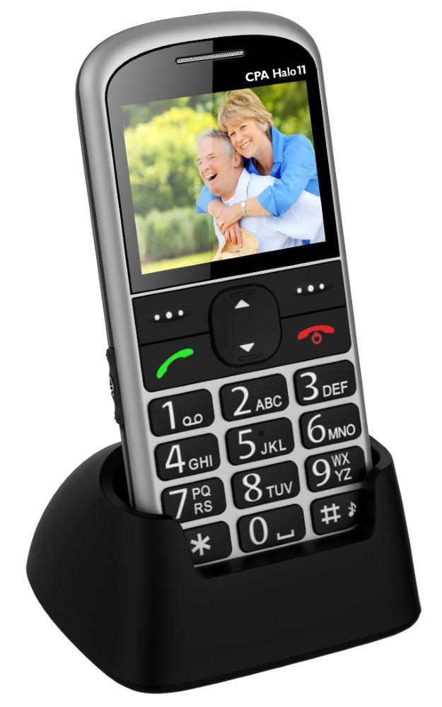 Mobilní telefon pro seniory CPA HALO 11 stříbrný Mobilní telefon, pro seniory, 2.4 barevný display, SOS tlačítko, vestavěná svítilna, FM rádio, stříbrný TELMY1011SI