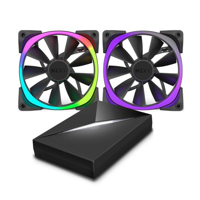 Ventilátor NZXT Aer RGB RF-AR140-C1 2ks + HUE+ Ventilátor, 140 mm, 22 – 33 dBA, 4-pin, set: 2x FAN + řídící panel HUE+ RF-AR140-C1