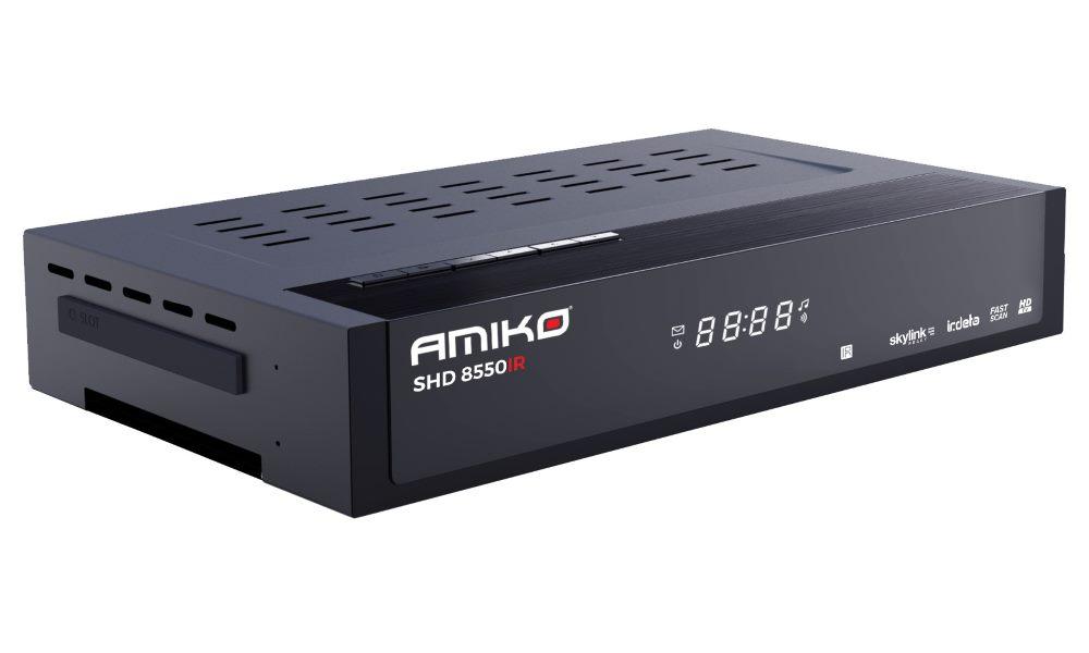 Satelitní přijímač AMIKO SHD 8550 IR Satelitní přijímač, DVB-S2, Full HD, Skylink ready, Irdeto, MPEG2, PVR, HDMI, USB, LAN DBSAMIRDETO