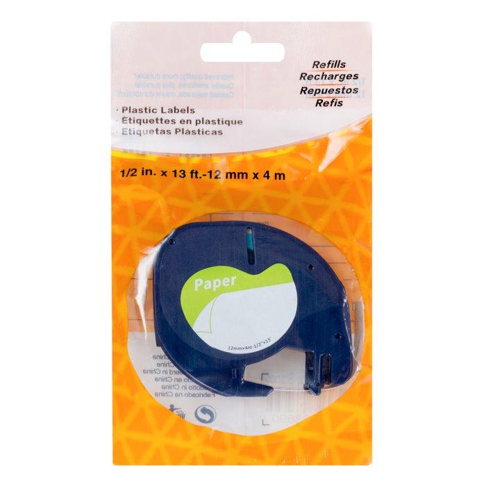 Páska PrintLine kompatibilní s DYMO 59421 Páska, pro tiskárny štítků, kompatibilní s DYMO 59421, 12mm, 4m, černý tisk/bílý podklad, LetraTag, papírová