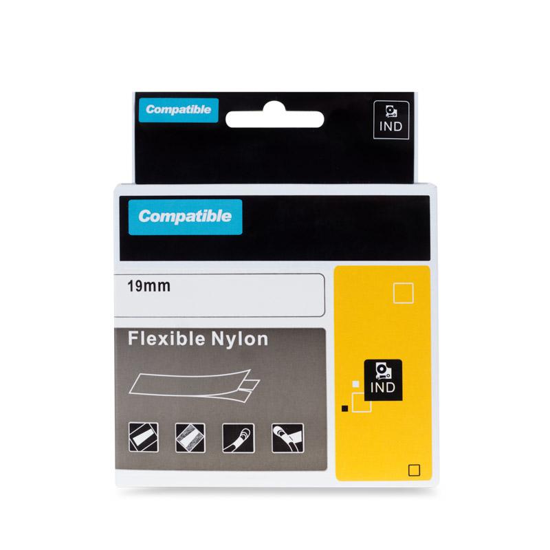 Páska do tiskárny PRINTLINE za DYMO 18491 Páska do tiskárny, kompatibilní s DYMO 18491, 19mm, 3.5m, černý tisk/žlutý podklad, RHINO, nylonová, flexibilní PLTD72