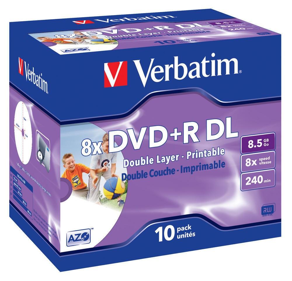 DVD médium VERBATIM DVD+R DoubleLayer 8,5 GB 10 ks DVD médium, DVD+R, dvouvrstvé, 8,5 GB, 8x, potisknutelné, jewel, 10 pack 43665