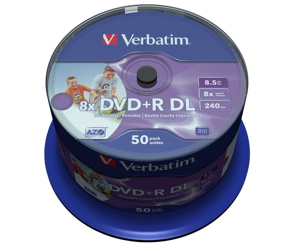 DVD médium VERBATIM DVD+R DoubleLayer 8,5 GB 50 ks DVD médium, DVD+R, 8,5 GB, dvouvrstvé, potisknutelné, 8x, 50 pack, spindle 43703
