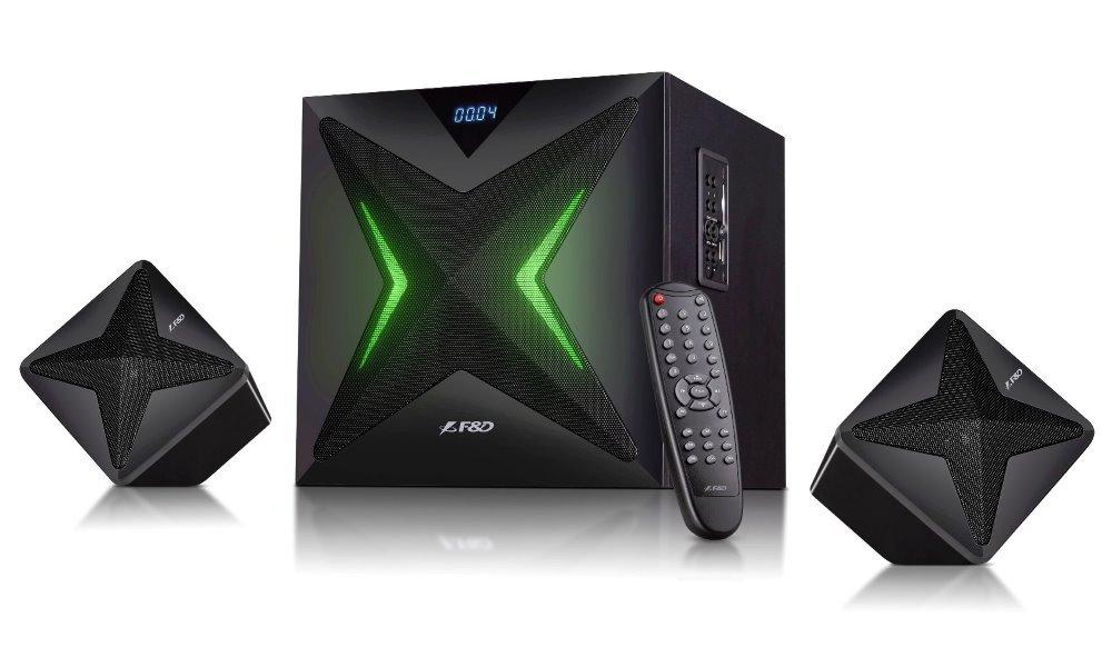 Akce! FENDA F&D repro F550X/ 2.1/ 56W/ černé/ BT4.0/ NFC/ FM rádio/ USB/SD přehrávání/ dálkové ovládání