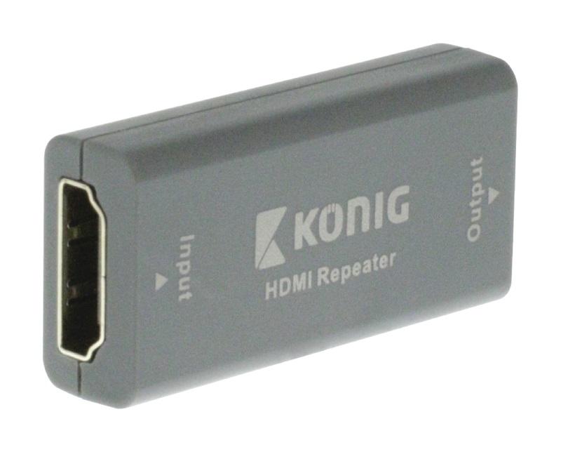Zesilovač KÖNIG KNVRP3400 Zesilovač, opakovač, HDMI vstup - HDMI výstup, tmavě šedý, až 20 m KNVRP3400