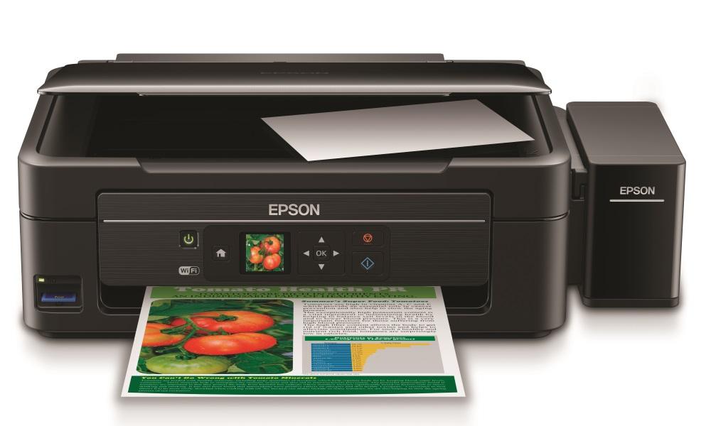 Multifunkční tiskárna Epson L455 + barvy ZDARMA Barevná multifunkční inkoustová tiskárna, A4, 5760x1440, 4 barvy, LCD, MFZ, USB, WiFi + sada barev ZDARMA C11CE24401