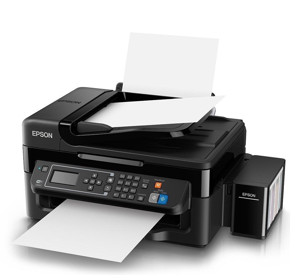 Multifunkční tiskárna Epson L565 + barvy ZDARMA Barevná multifunkční inkoustová tiskárna, 5760x1440, A4, MFZ, LCD, 4 barvy, Fax, Wi-Fi, USB + sada barev ZDARMA C11CE53401