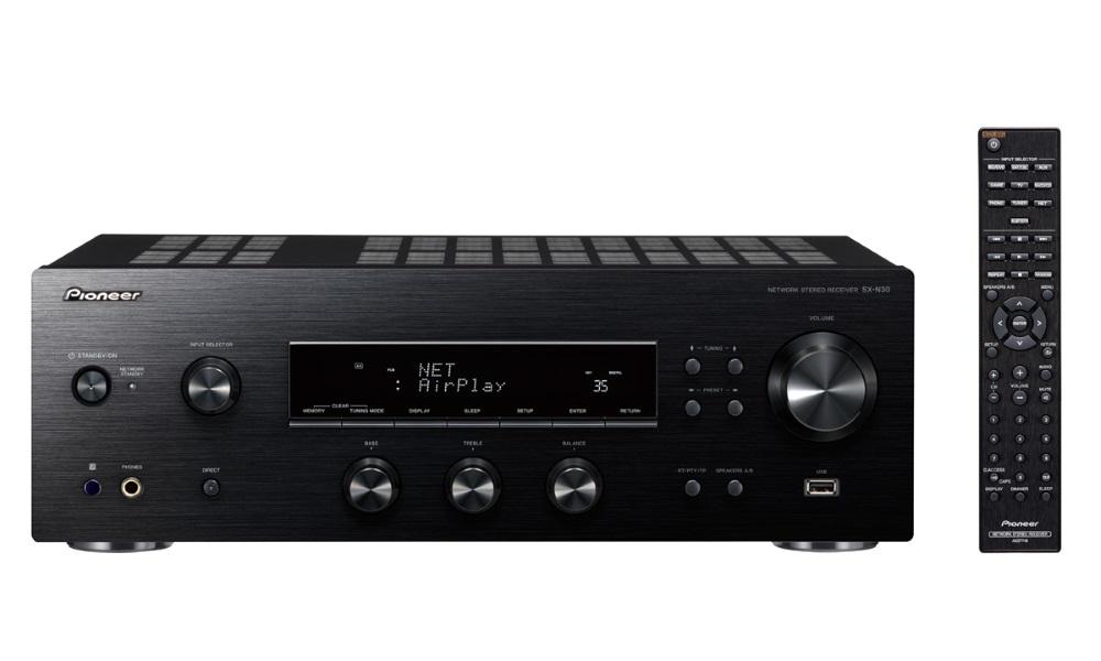 AV přijímač Pioneer SX-N30-K AV přijímač, stereofonní integrovaný přijímač, Wi-Fi, Bluetooth, DLNA, USB, AM, FM tuner, dálkové ovládání, černý SX-N30-K