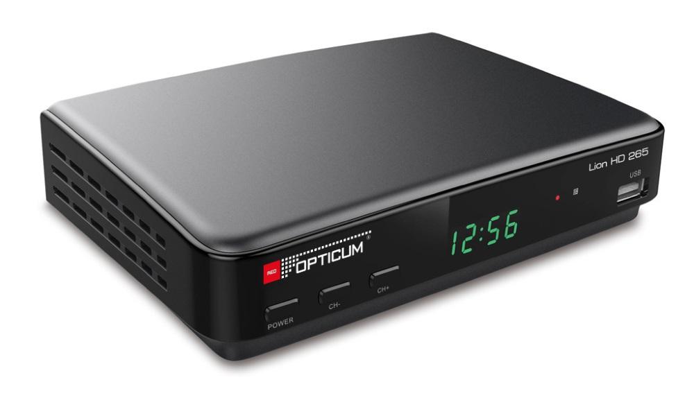 Set-top-box OPTICUM Lion HD 265 Set-top-box, DVB-T2, Full HD, MPEG 1, 2, 4, HEVC, H.265, HDMI, USB, SCART, černý SROPTLION