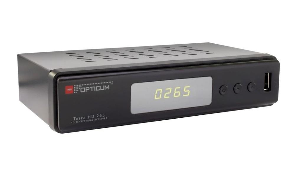 Set-top-box OPTICUM Terra HD 265 Set-top-box, DVB-T2, Full HD, MPEG 1, 2, 4, HEVC, H.265, HDMI, USB, SCART, černý SROPTTERRA
