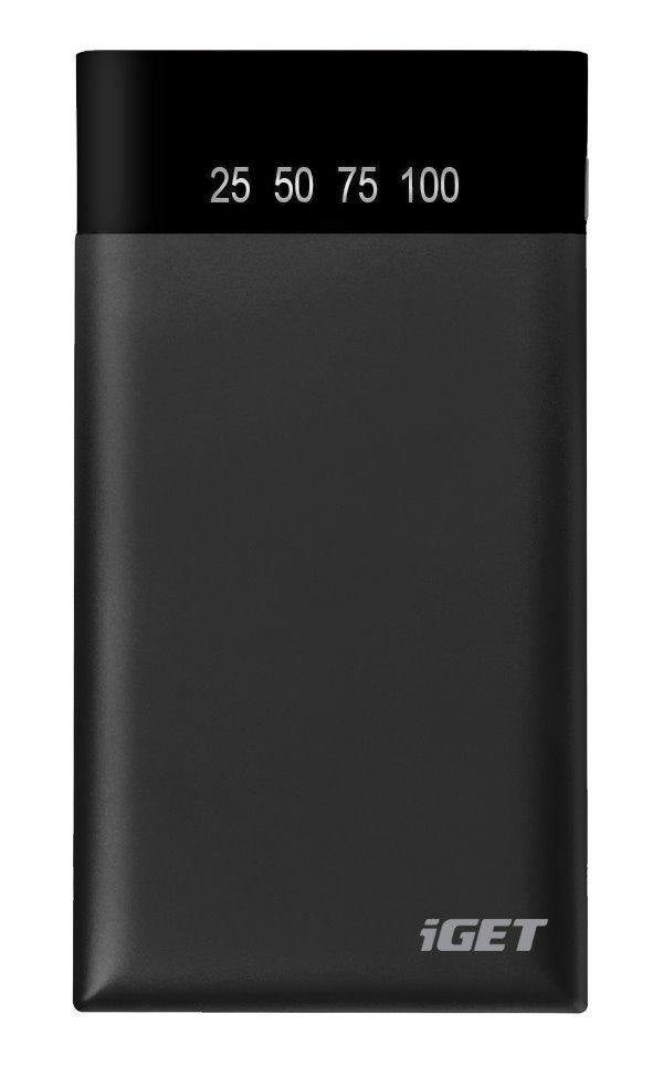 PowerBank iGET B-10000B PowerBank, 10000 mAh, 2x USB, Li-pol,  % indikátor stavu nabití, v příslušenství přísavky k telefonu