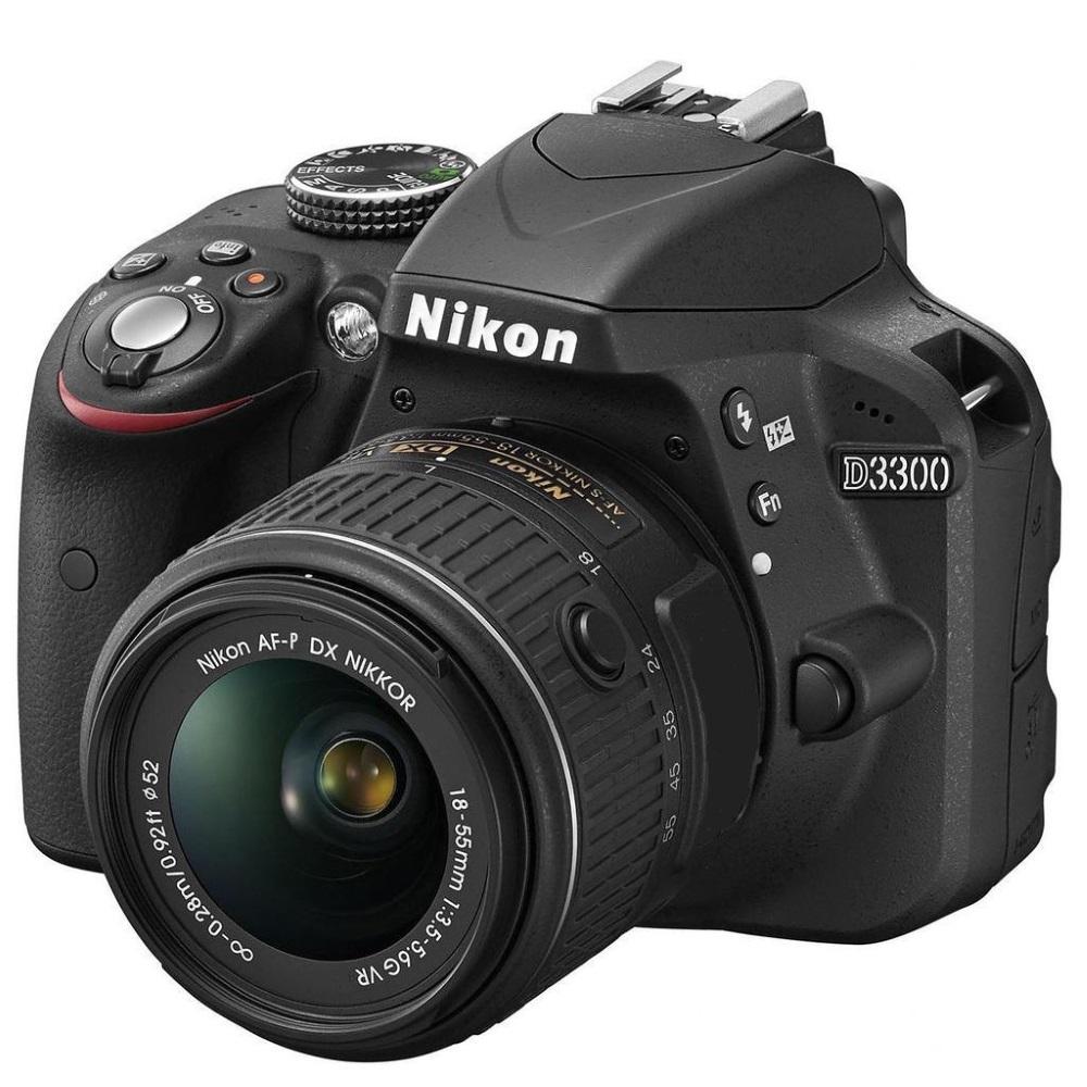 Digitální zrcadlovka NIKON D3300 + AF-P 18-55 VR Digitální zrcadlovka, 24,2 Mpix, CMOS, USB, mini HDMI, slot pro paměťové karty, černá + objektiv Nikon AF-P 18-55 VR VBA390K008