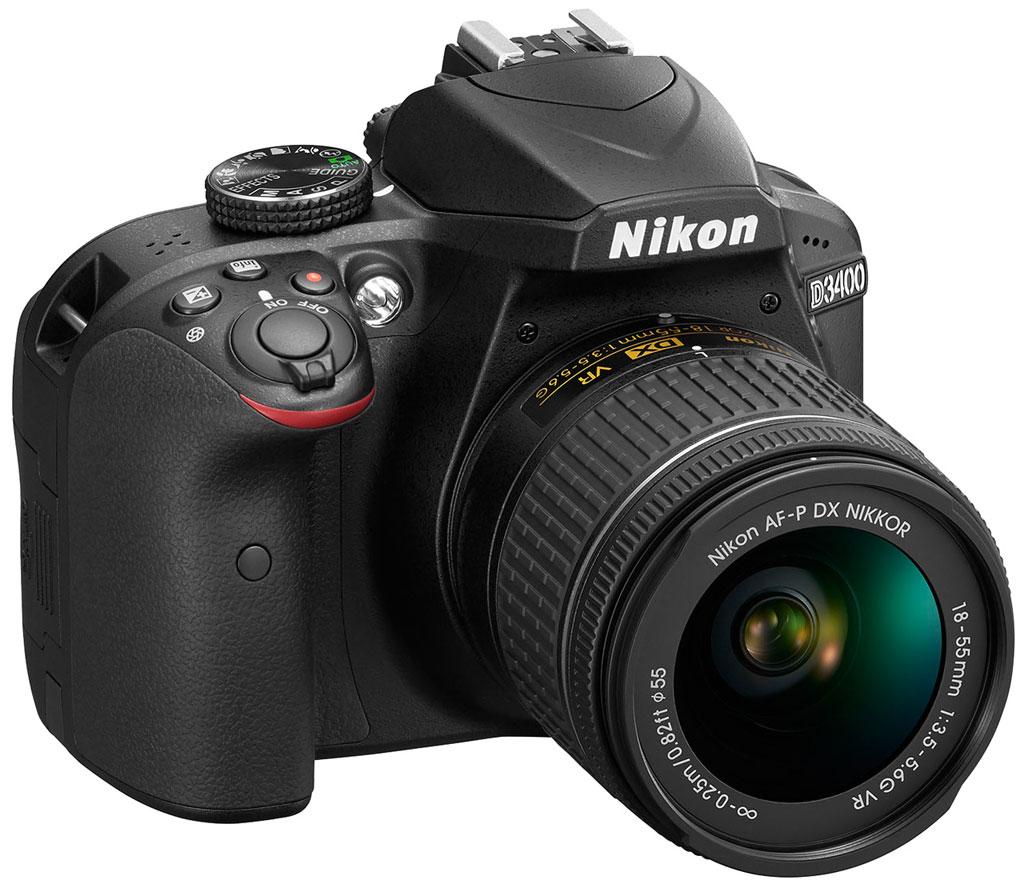 Digitální zrcadlovka NIKON D3400 + AF-P 18-55 VR Digitální zrcadlovka, 24.2Mpix, Bluetooth, SnapBridge + objektiv Nikon AF-P 18-55 VR, černý VBA490K001