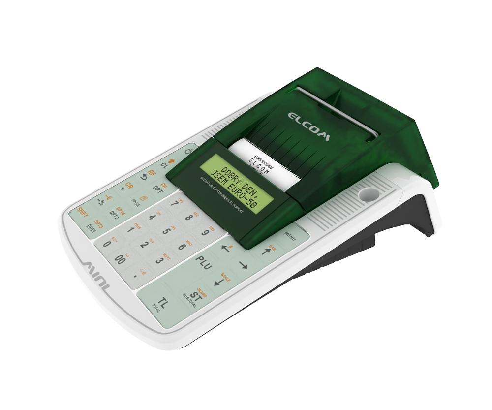 Registrační pokladna ELCOM EURO-50TEi Wi-Fi Registrační pokladna, 57mm tiskárna, LCD displej 2x20 řádků, bílá