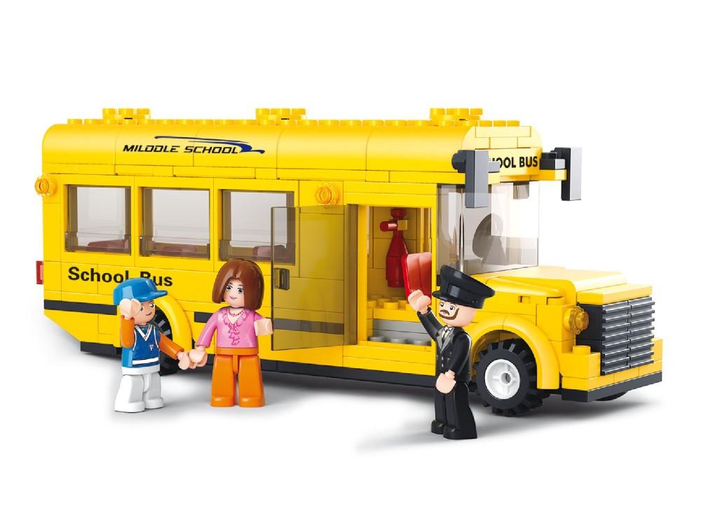 Stavebnice Sluban Školní autobus Stavebnice, 218 dílků, kompatibilní s LEGO