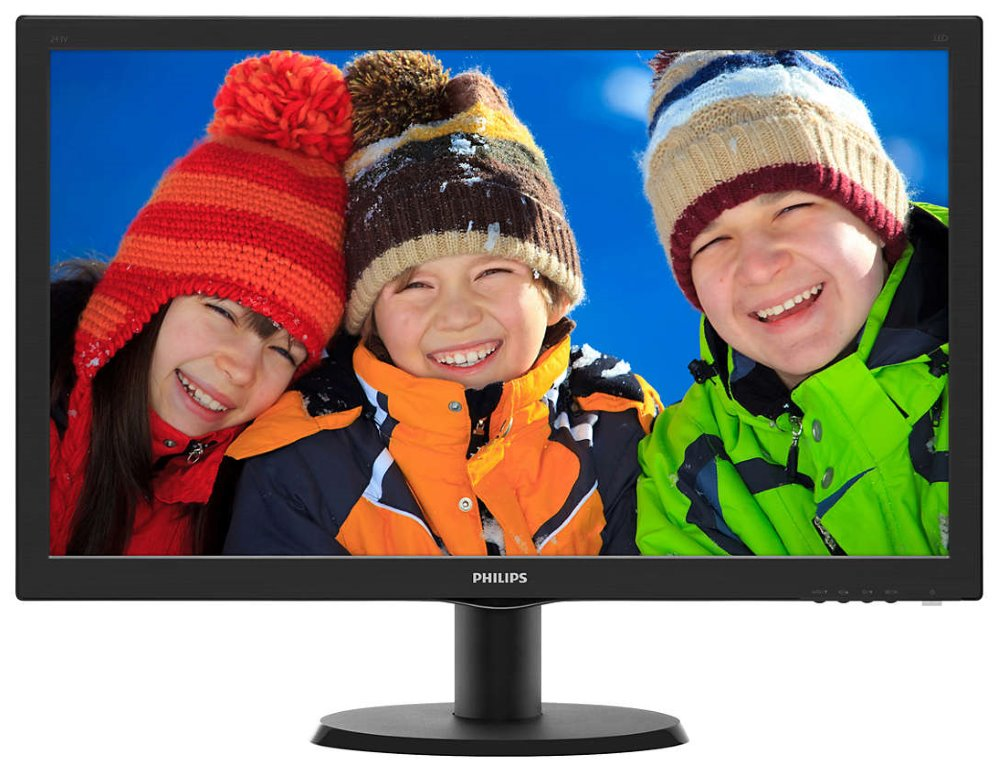 "LED monitor Philips 243V5QHABA 23,6"" LED monitor, 23,6"", 1920x1080, VA, 16:9, 8ms, 250cd/m2, HDMI, DVI, D-SUB, Repro, VESA 100x100, černý"