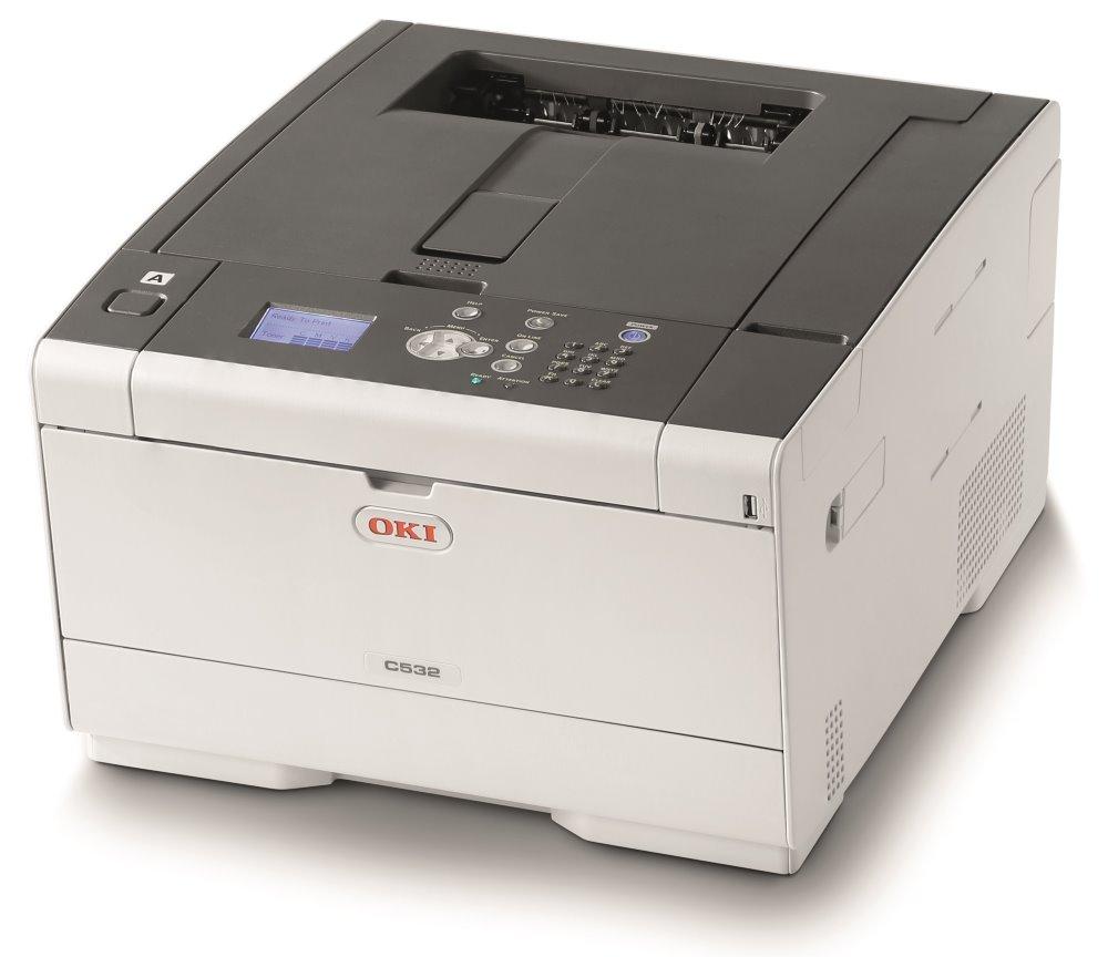 OKI C532dn, A4 30/30 ppm, 1200x1200 dpi, 1GB RAM, PCL + PS, USB/ LAN, Duplex