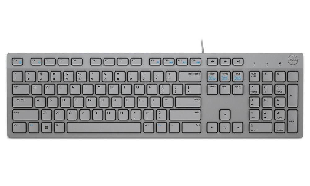 Klávesnice Dell KB216 anglicko - irská Klávesnice, drátová, multimedíální, USB, anglicko-irská, šedá