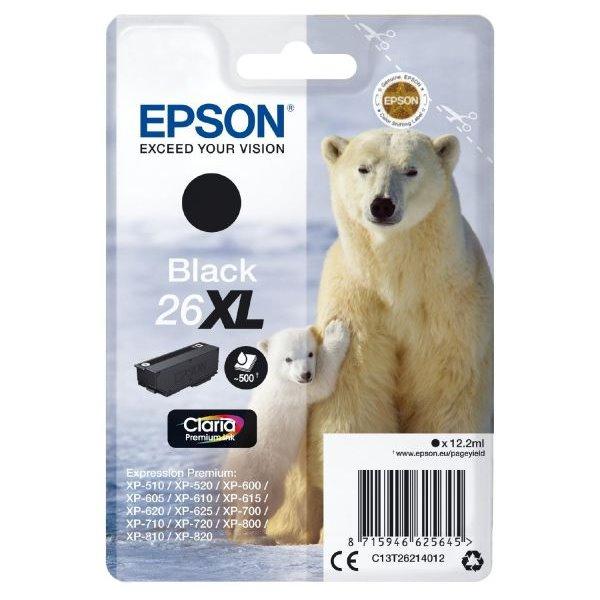 Epson inkoustová náplň/ T2621/ Singlepack 26XL Claria Premium Ink/ Černá
