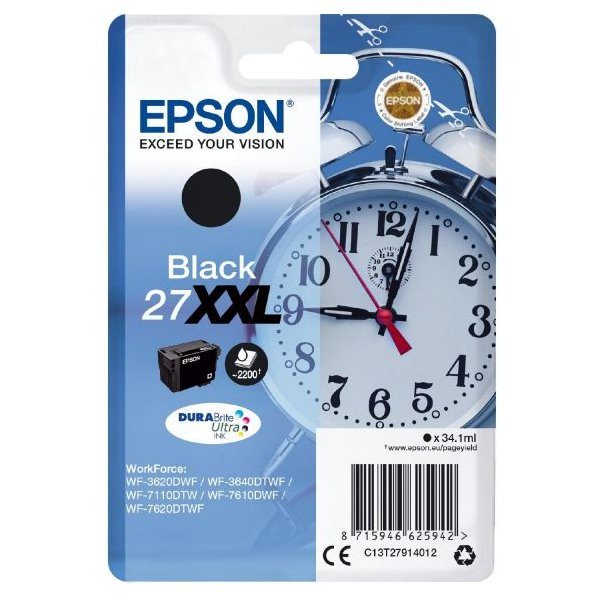 Epson inkoustová náplň/ T2791/ Singlepack 27 XXL DURABrite Ultra Ink/ WF-3620DWF/ XXL Černá