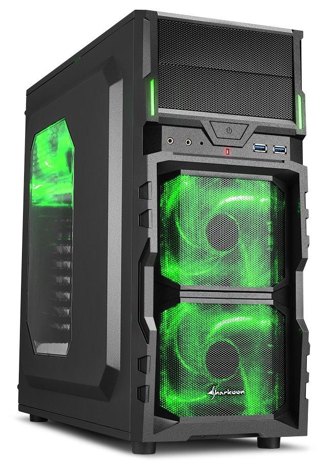 Skříň Sharkoon VG5-W černo - zelená Skříň, Middle tower, bez zdroje, 2x USB 3.0, průhledná bočnice, zelené LED, černo - zelená