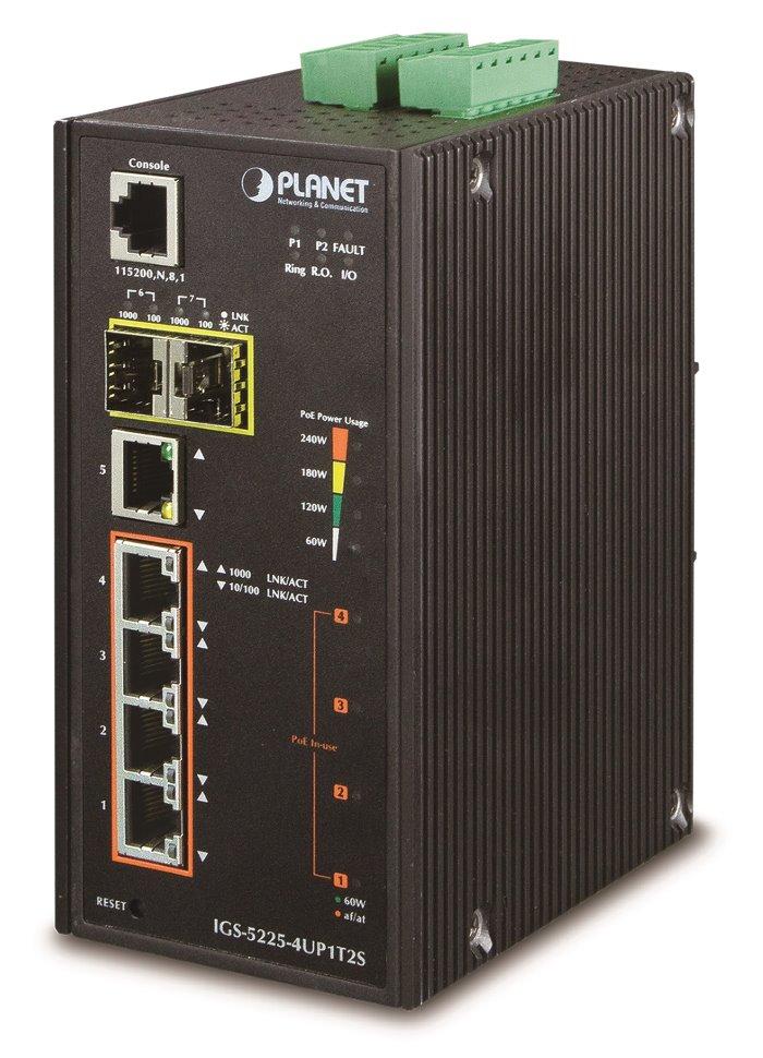 Switch PLANET IGS-5225-4UP1T2S Switch, průmyslový, 4x 10/100/1000T Ultra PoE, 1x 10/100/1000T, 2x 100/1000X SFP, -40~+75°C
