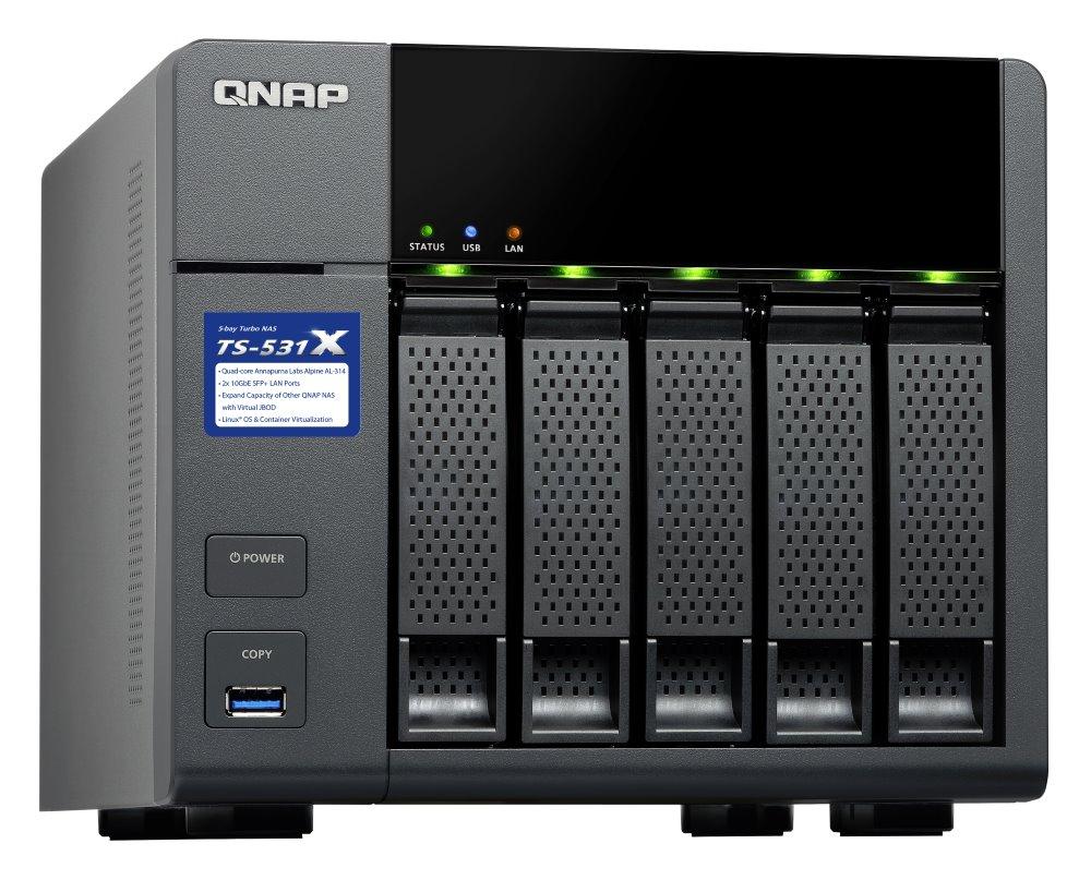 """Síťové úložiště NAS QNAP TS-531X-2G Síťové úložiště NAS, 5x 2,5""""/3,5"""" SATA III, quad-core 1,4GHz, 2GB RAM, 2x LAN, 2x 10GbE SFP+, 3x USB 3.0"""