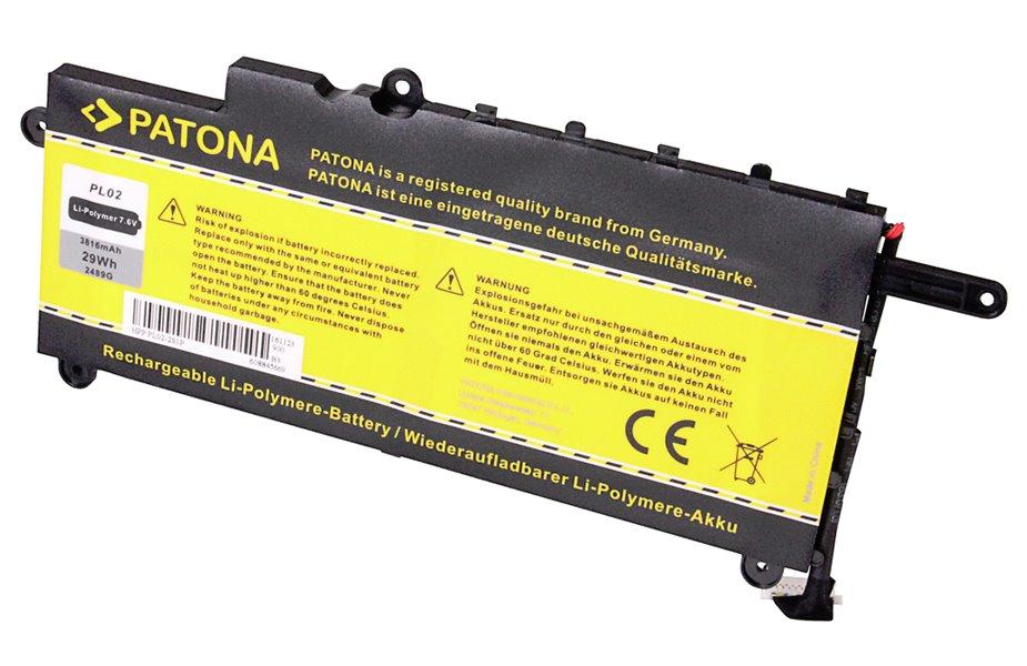 Baterie PATONA pro HP 3800 mAh Baterie, pro notebook, 3800mAh, Li-Pol, 7,6V, pro HP PavilIon 11, kompatibilní s baterií PL02