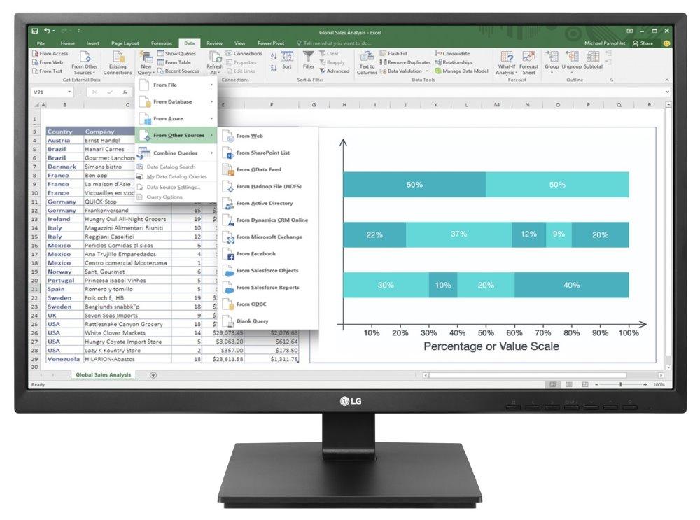 """LED monitor LG 24BK750Y-B 23,8"""" LED monitor, 23,8"""", IPS, 1920x1080, 5M:1, 5ms, D-Sub, DVI, DP, HDMI, USB, 2x1,2W, černý"""