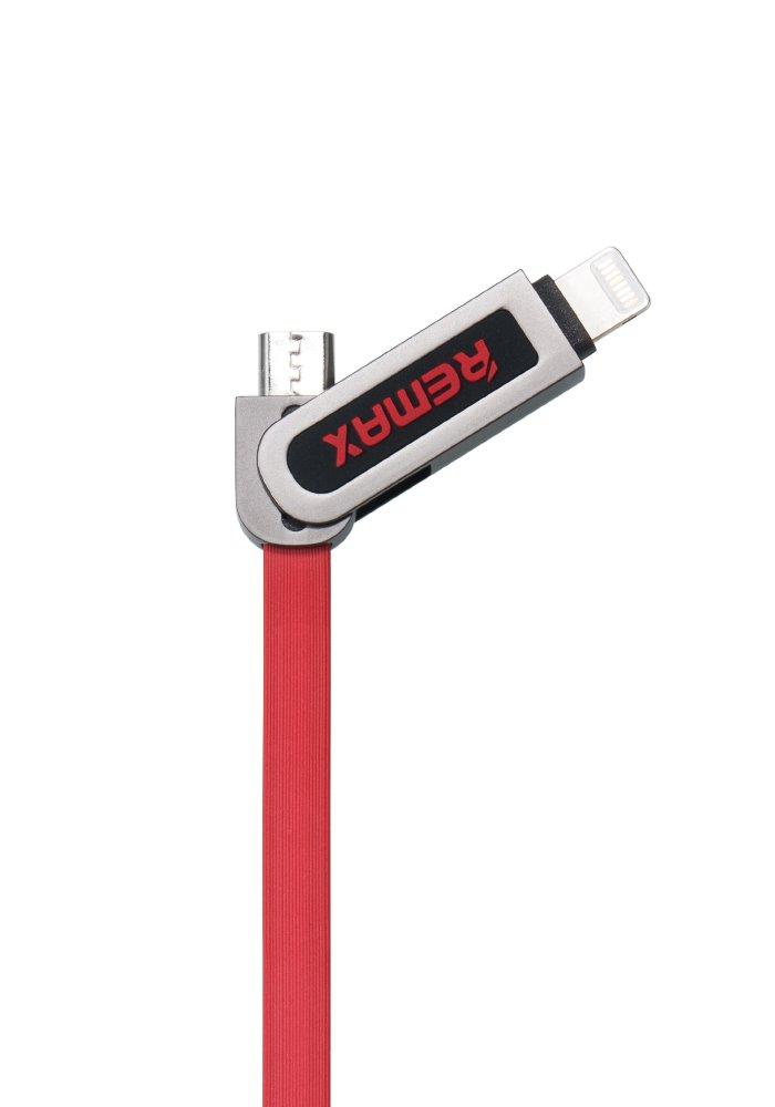 Kabel REMAX USB 2.0 na Lightning 1m červený Kabel, synchronizační a nabíjecí, 2v1, USB 2.0 typ A na Lightning a USB 2.0 micro-B, 1m, červený - série RC-067t