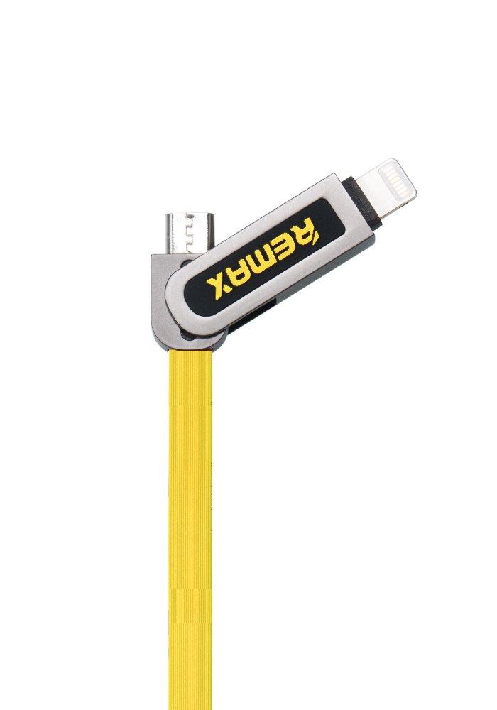 Kabel REMAX USB 2.0 na Lightning 1m žlutý Kabel, synchronizační a nabíjecí, 2v1, USB 2.0 typ A na Lightning a USB 2.0 micro-B, 1m, žlutý - série RC-067t