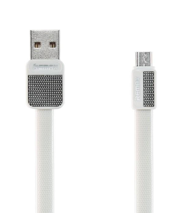 Kabel REMAX USB 2.0 na micro USB 1m bílý Kabel, synchronizační a nabíjecí, USB 2.0 typ A na USB 2.0 micro B, 1m, bílý - série Platinum