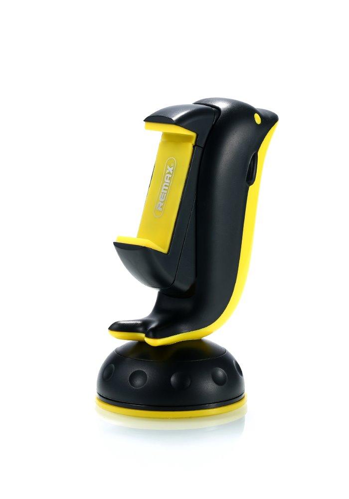 """Držák REMAX Dolphin RM-C20 černo-žlutý Držák, do auta, na palubní desku, univerzální, podpora 3"""" - 6"""", černo-žlutý"""