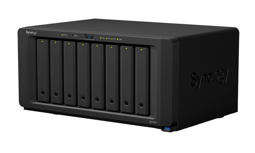 """Síťové úložiště NAS Synology DS1817+ 2GB Síťové úložiště NAS, 8x 2,5""""/3,5"""" SATA III, quad-core 2,4GHz, 2GB RAM, 4x LAN, 4x USB 3.0, 2x eSATA"""