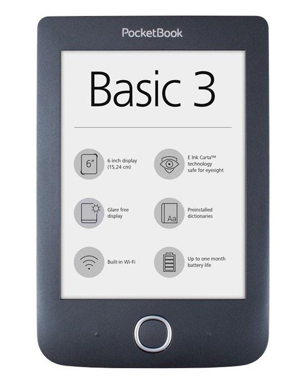 """Čtečka elektronických knih PocketBook 614+ Basic 3 Čtečka elektronických knih, Basic 3, 4GB, 6"""", Wi-Fi, micro USB, čeština, černá"""