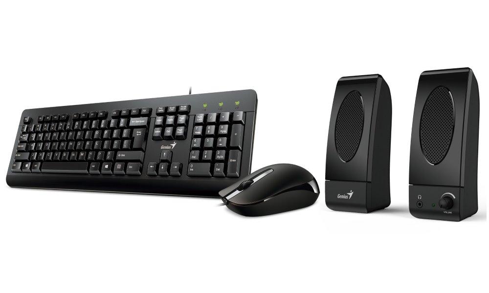 Set Genius KMS U130 Set klávesnice, myši a reproduktorů, drátový, USB, klávesnice česko-slovenská, myš 1200 DPI, repro 3W, černý