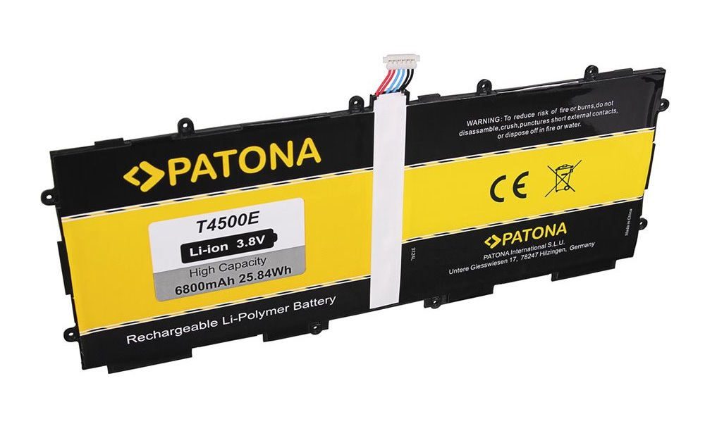 Baterie PATONA pro Samsung 6800 mAh Baterie, pro tablet Samsung Galaxy Tab 3 10.1, 6800mAh, 3,8V, Li-Pol, kompatibilní s EB-BG930