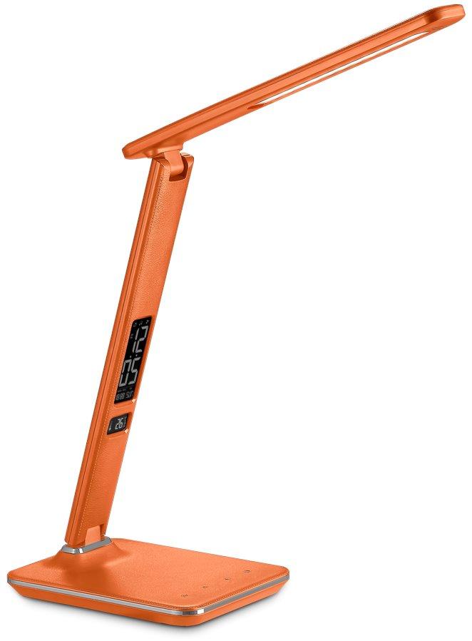 Stolní lampička IMMAX Kingfisher 9 W oranžová Stolní lampička, LED, 9W, 450lm, 12V, 1A, 3 různé barvy světla, sklápěcí rameno, USB, oranžová