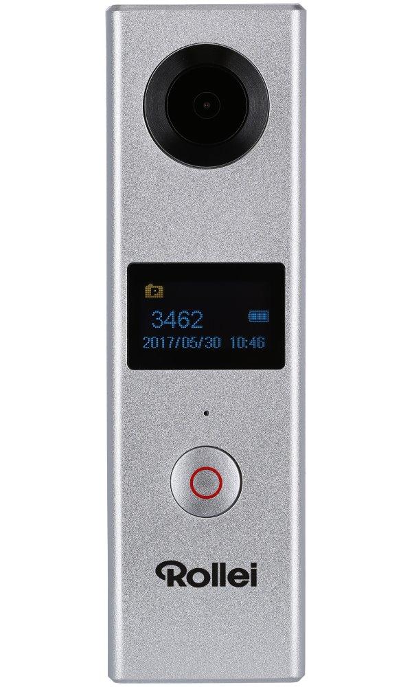 Kamera Rollei 360° stříbrná Kamera, 2x objektiv, 360°, 1920 x 960, 30 fps, LCD displej, Wi-Fi, stříbrná