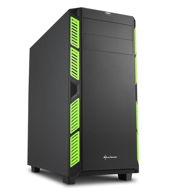 Skříň Sharkoon AI7000 Silent zelená Skříň, Middle tower, bez zdroje, ATX, 2x USB 3.0, 2x USB 2.0, neprůhledná bočnice, zelená