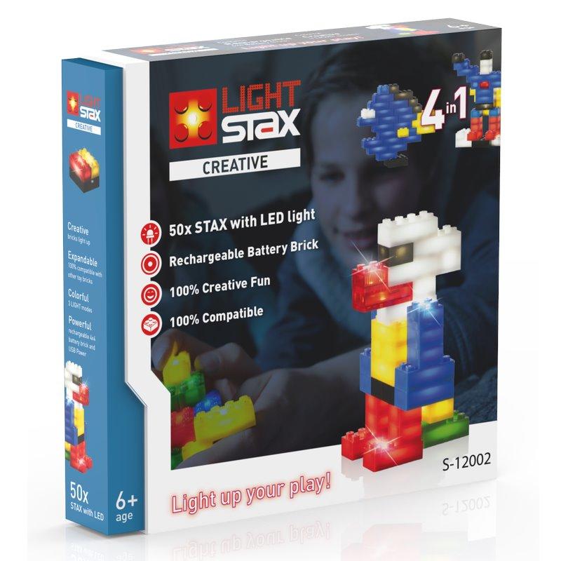 Stavebnice Light STAX Creative 4 v 1 Stavebnice, 50 dílků, svítící LED kostky, Li-Pol základna, kompatibilní s LEGO