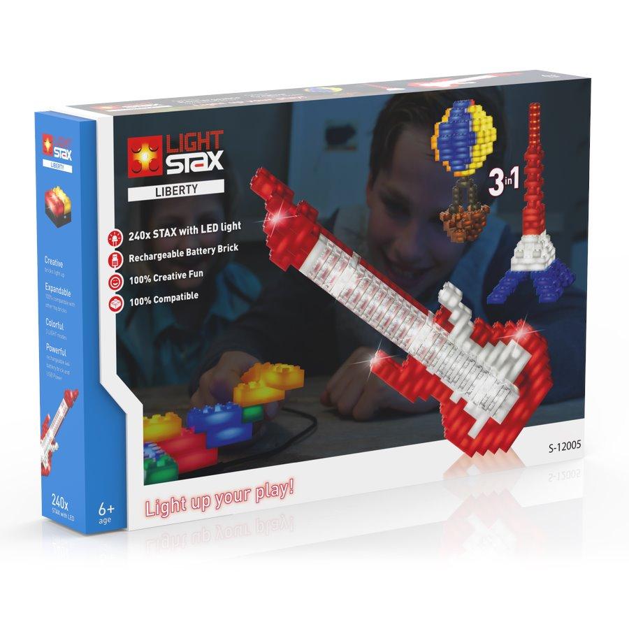 Stavebnice Light STAX Liberty 3 v 1 Stavebnice, 240 dílků, svítící LED kostky, Li-Pol základna, kompatibilní s LEGO